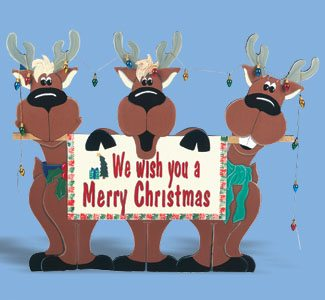 Reindeer Trio Yard Sign Christmas Wood Pattern