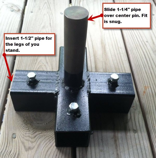 "5-way Stand to hold a 1-1/4"" Pole vertically and use 1-1/2"" pipe for legs of stand (20' Tree Stand)"