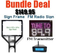 Fm Transmitter, Fm Radio Frequency Sign and Sign Holder