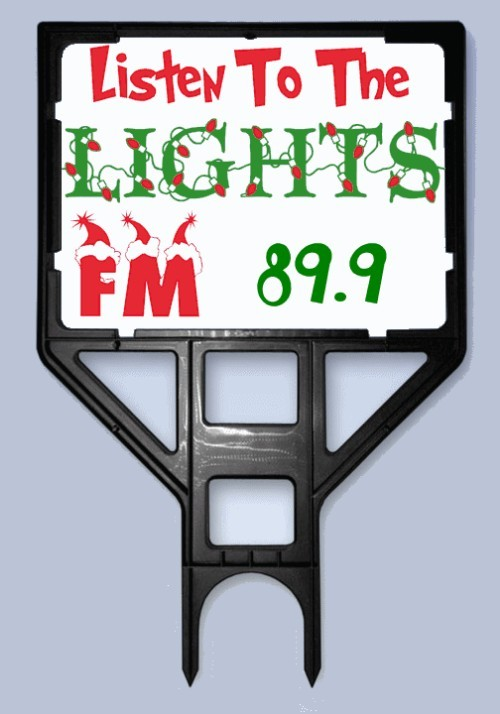 Listen To The Lights FM Radio Frequency Sign and Frame Holder Bundle