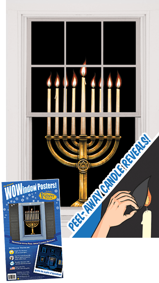 Menorah with Peel-Away Candle Reveals