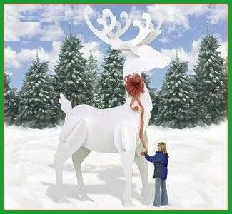 Ginormous white reindeer wood pattern for Christmas outdoor decoration patterns