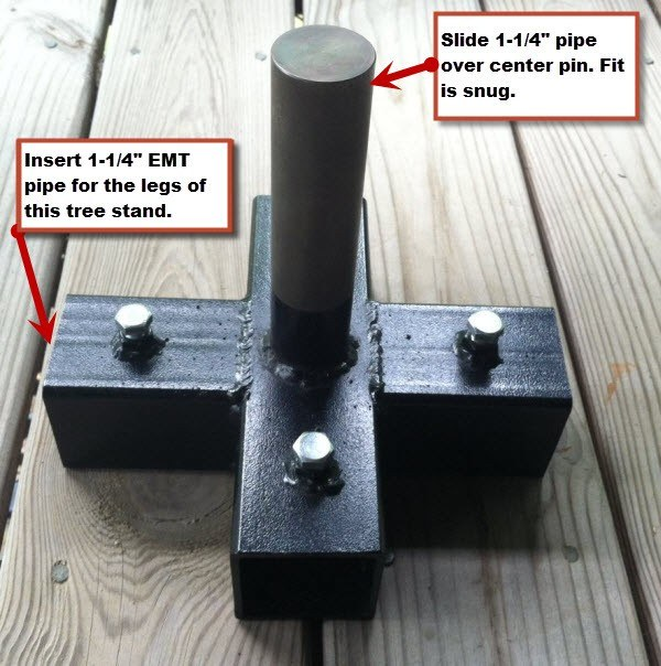 "5-way Stand to hold a 1-1/4"" Pole vertically and use 1-1/4"" EMT for legs of stand (Little Foot)"