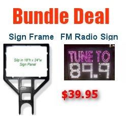 Fm Radio Frequency Sign and Sign Holder Bundle