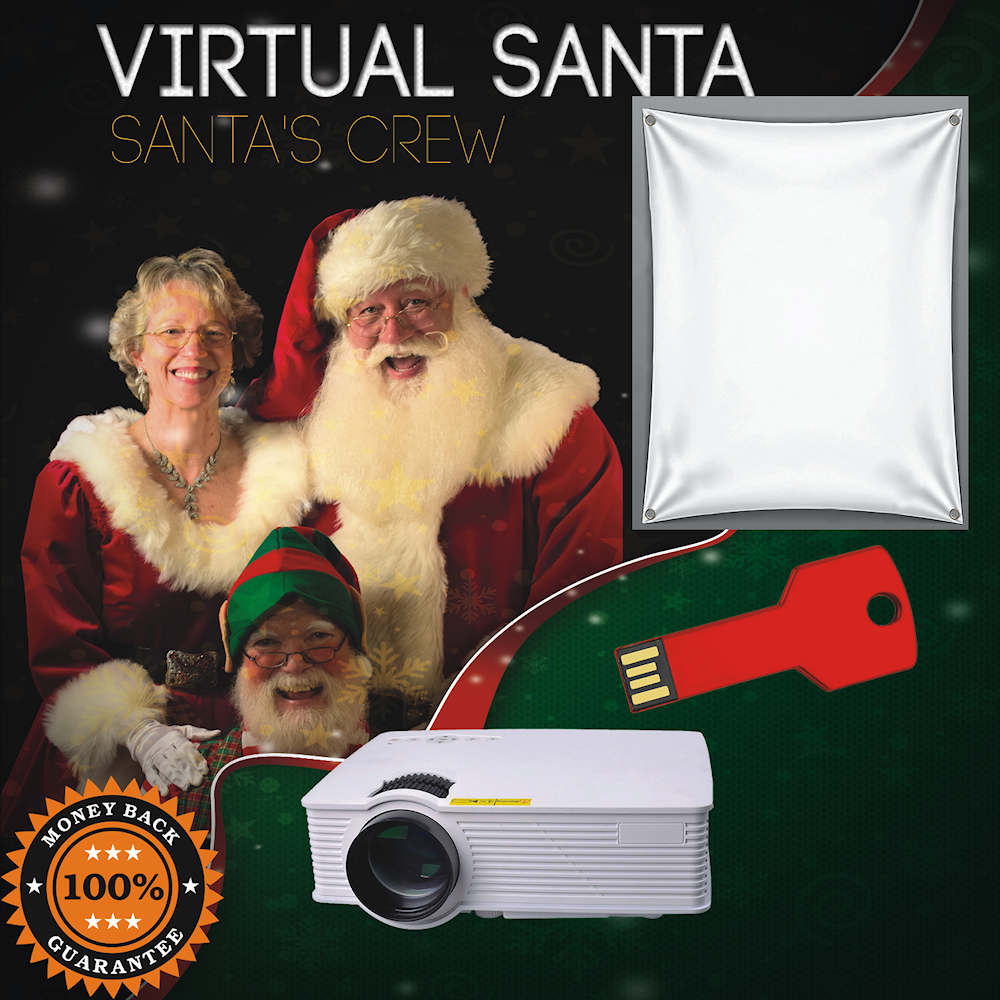 Virtual Santa on USB Thumb Drive,1900 lumen LED Video Projector and Projection material bundle.